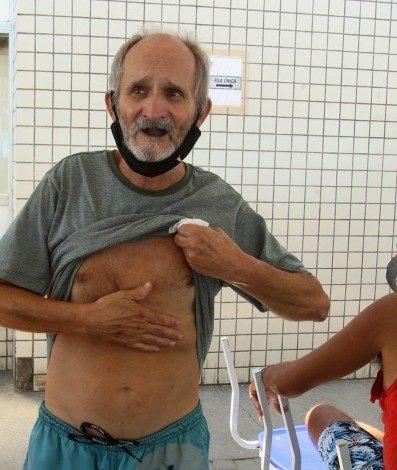 Atendimento em unidades de Saúde. Na foto, o senhor, Ivo Perfeito de Almeida, na UPA que fica ao lado do Hospital Moacir do Carmo, em Caxias.
