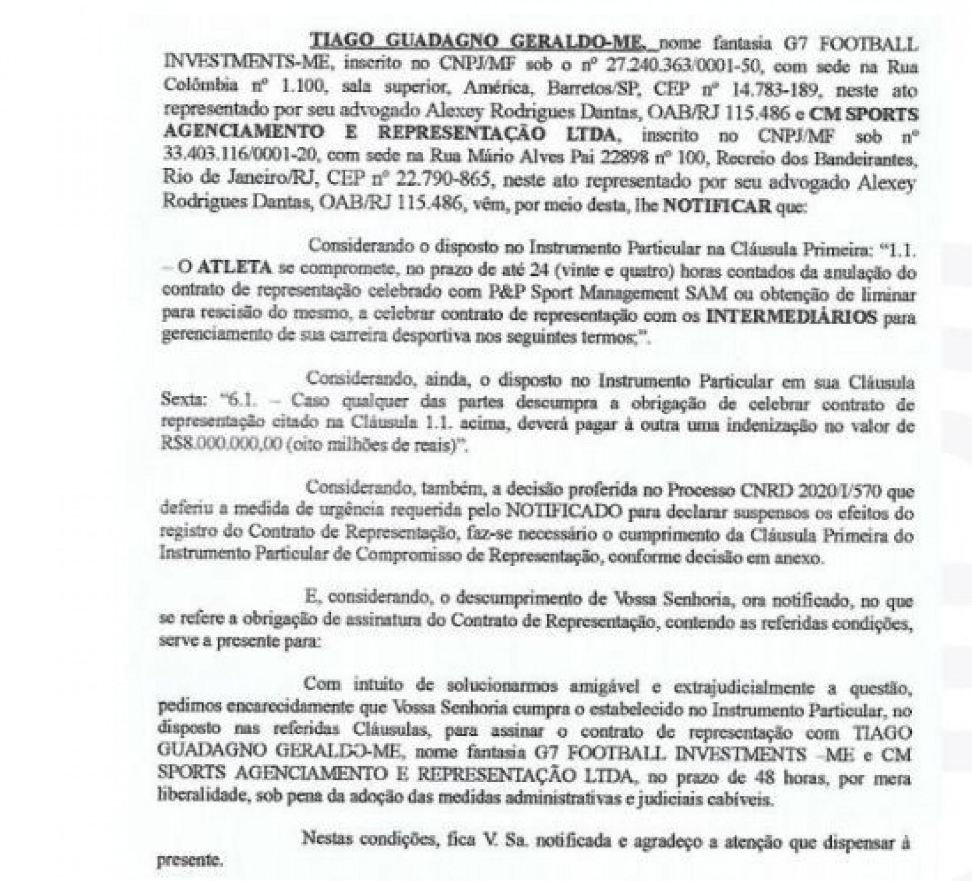 Documento anexado ao processo de Tiago contra Marcão - Reprodução