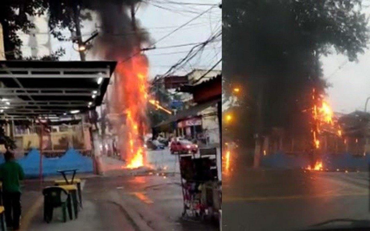 Poste pega fogo no Centro de Belford Roxo | Belford Roxo | O Dia