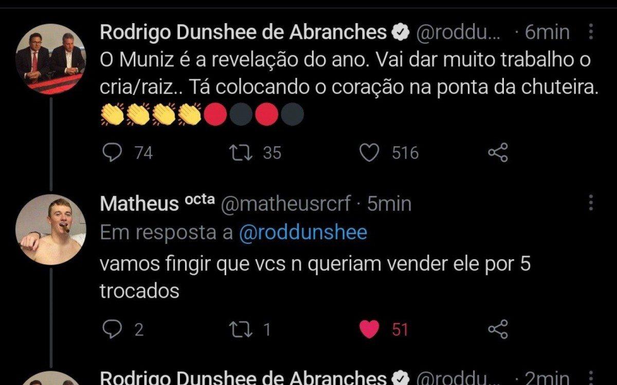 Ap�s ser criticado por torcedor, Rodrigo Dunshee, VP Jur�dico do Flamengo diz: L� vem o boca de esgoto. Sabich�o