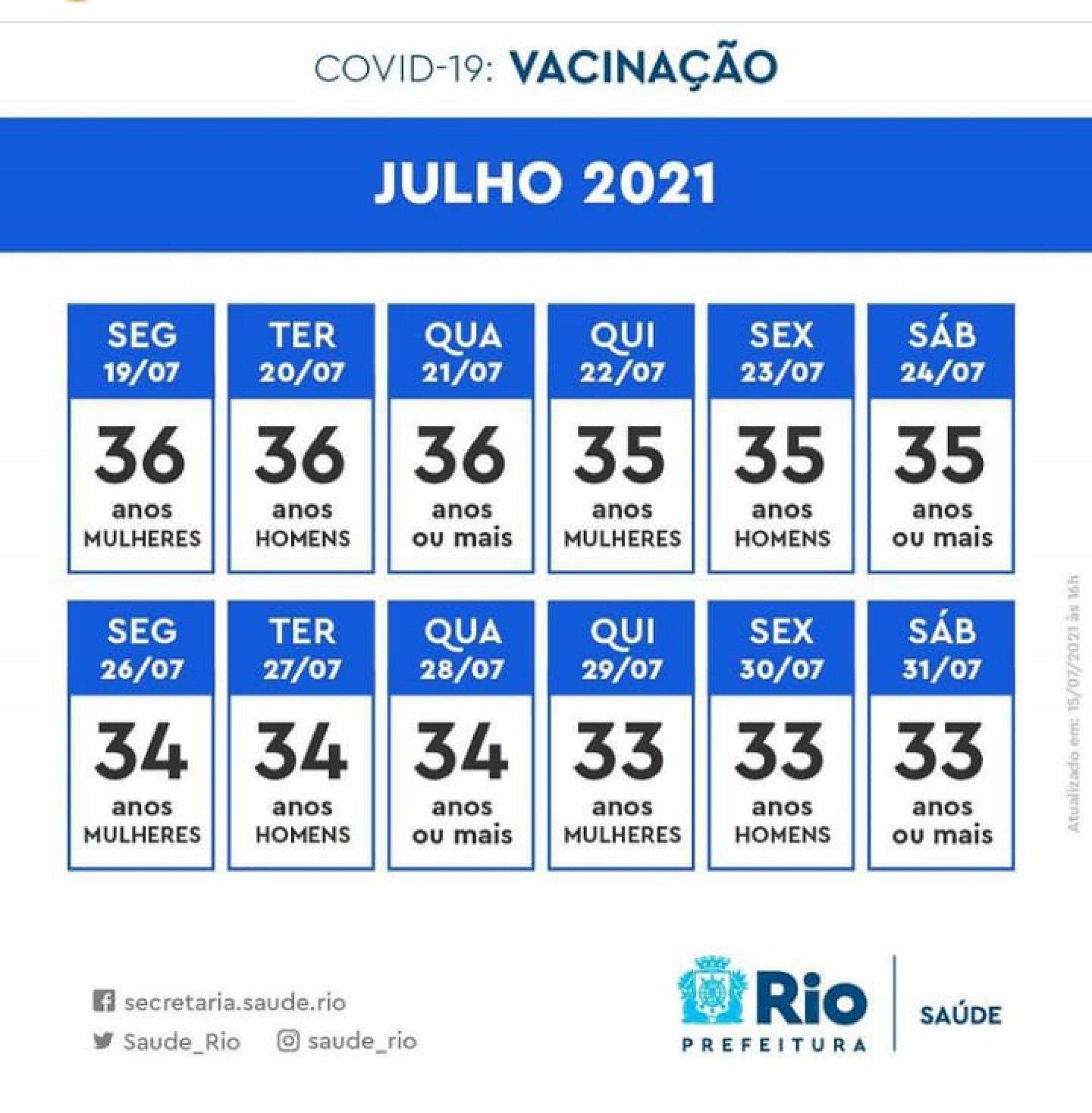 Calendário de vacinação do Rio  - divulgação