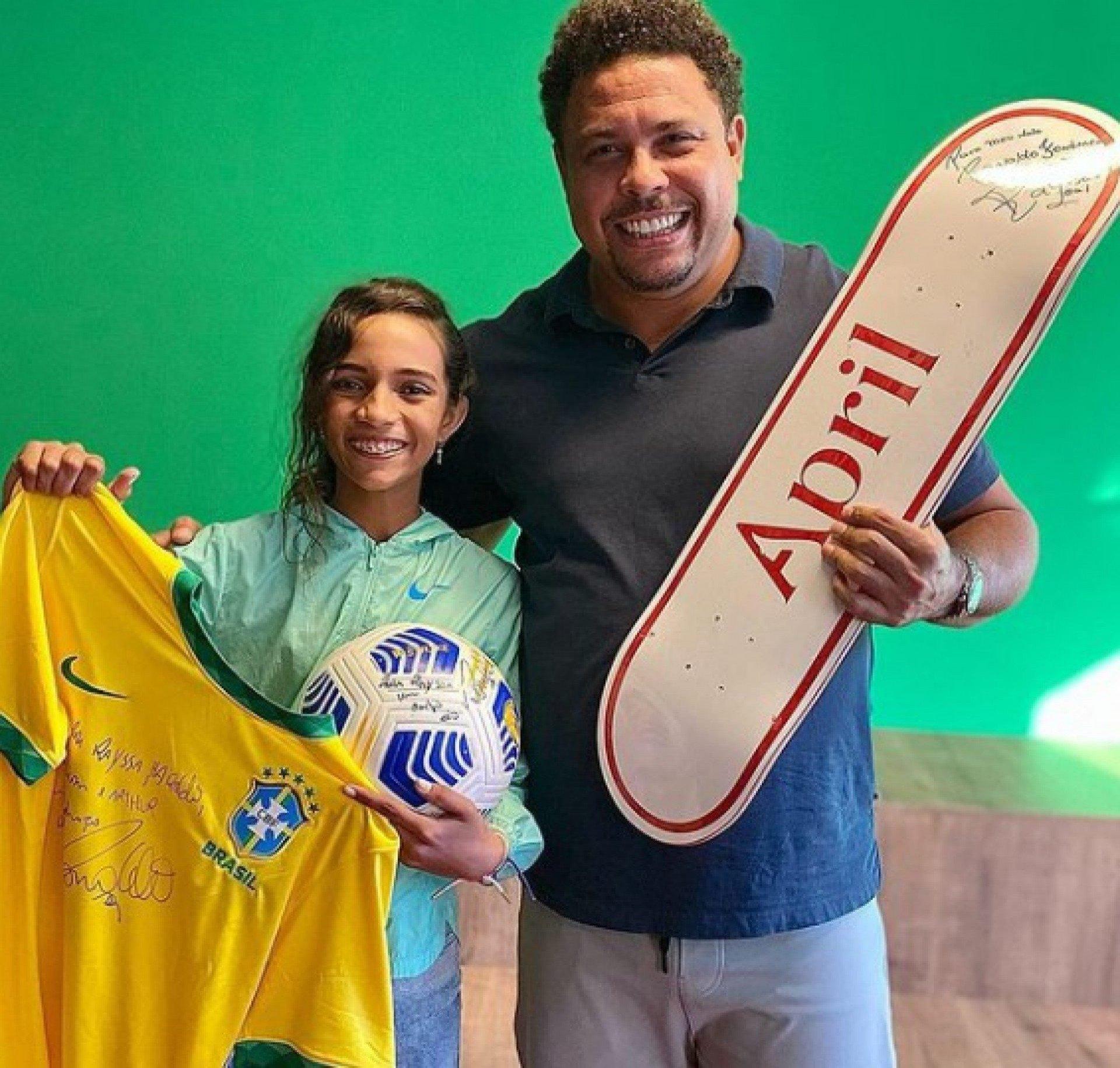 Ronaldo e Rayssa Leal se encontram em São Paulo: 'Fenômeno de talento e simpatia'