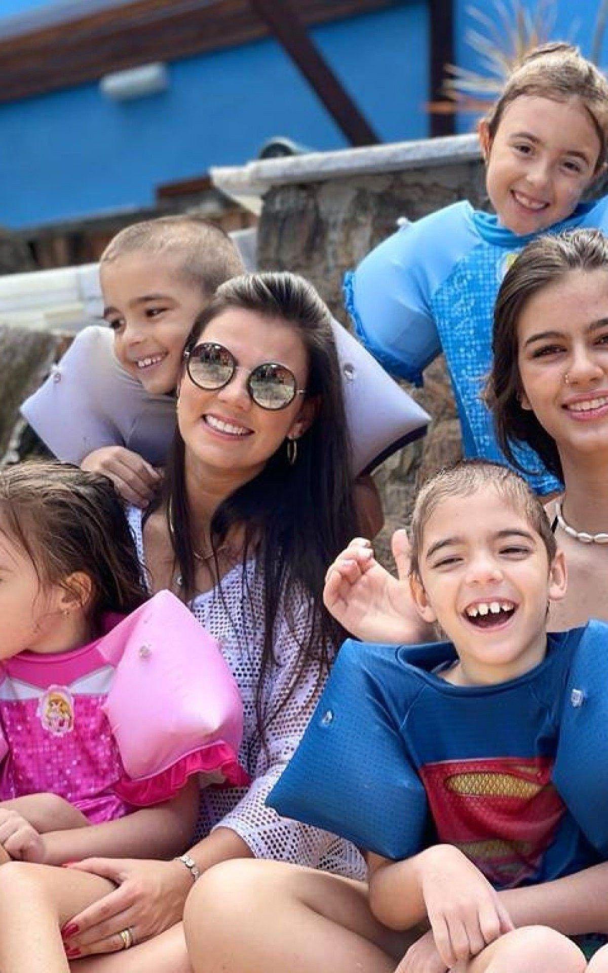 Patty Pontes e os filhos