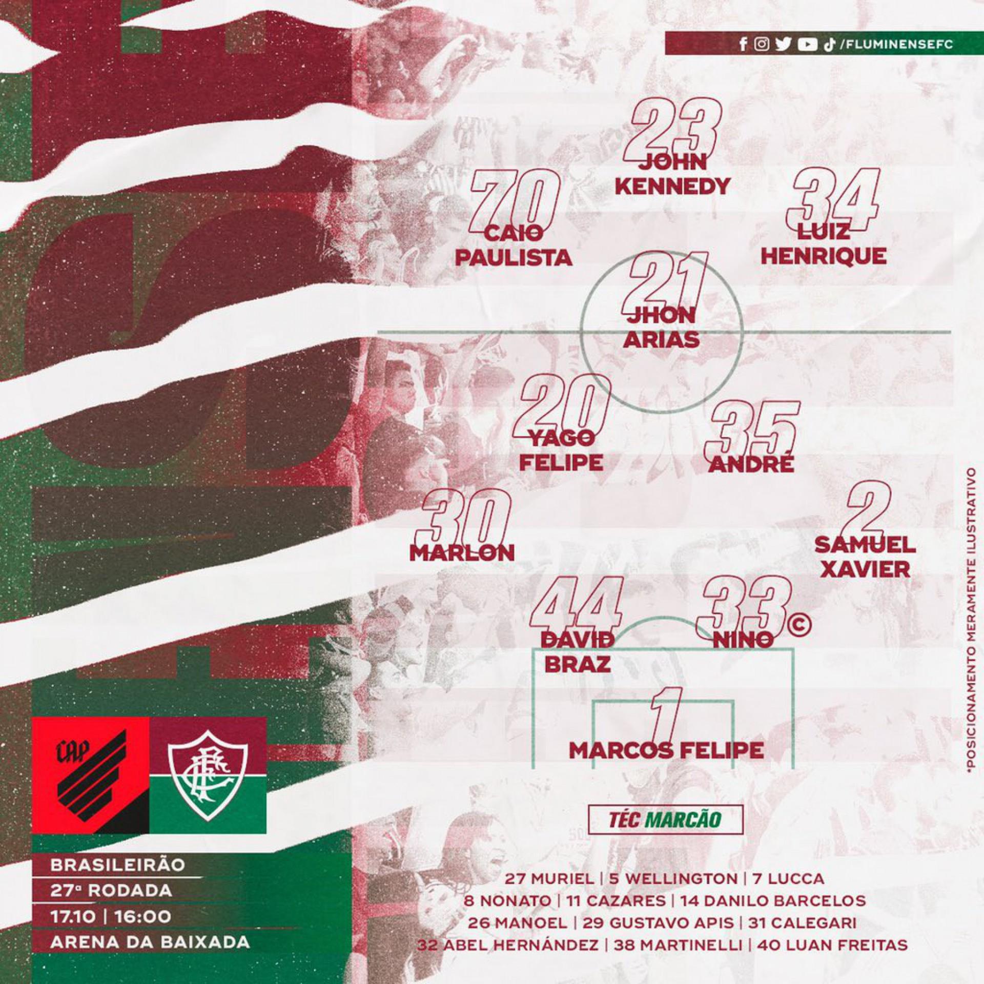 Com mudanças, Fluminense está escalado para duelo contra o Athletico-PR