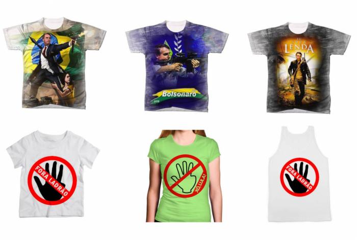 f72db3da61c4 Estampas de camisetas de Bolsonaro e Lula vendidas no site americanas.com,  incluindo o