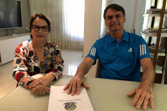 Tereza Cristina (DEM-MS) e Bolsonaro ainda na campanha presidencial