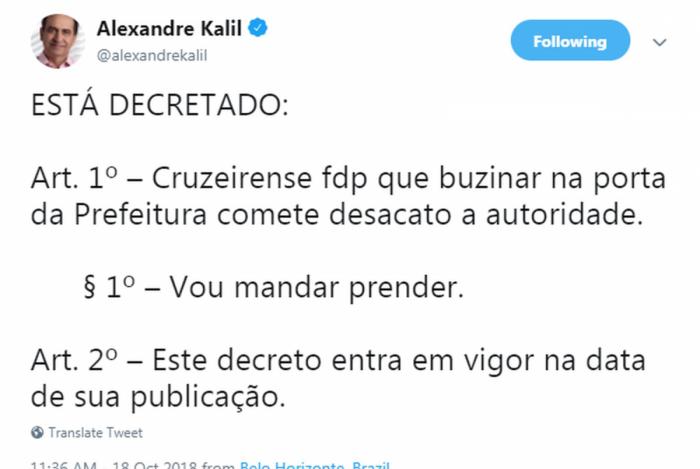 Kalil polemiza no Twitter