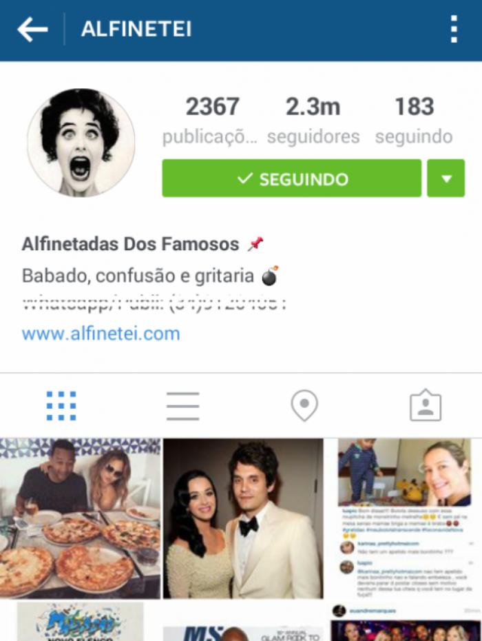 Perfil do 'Alfinetei' no Instagram