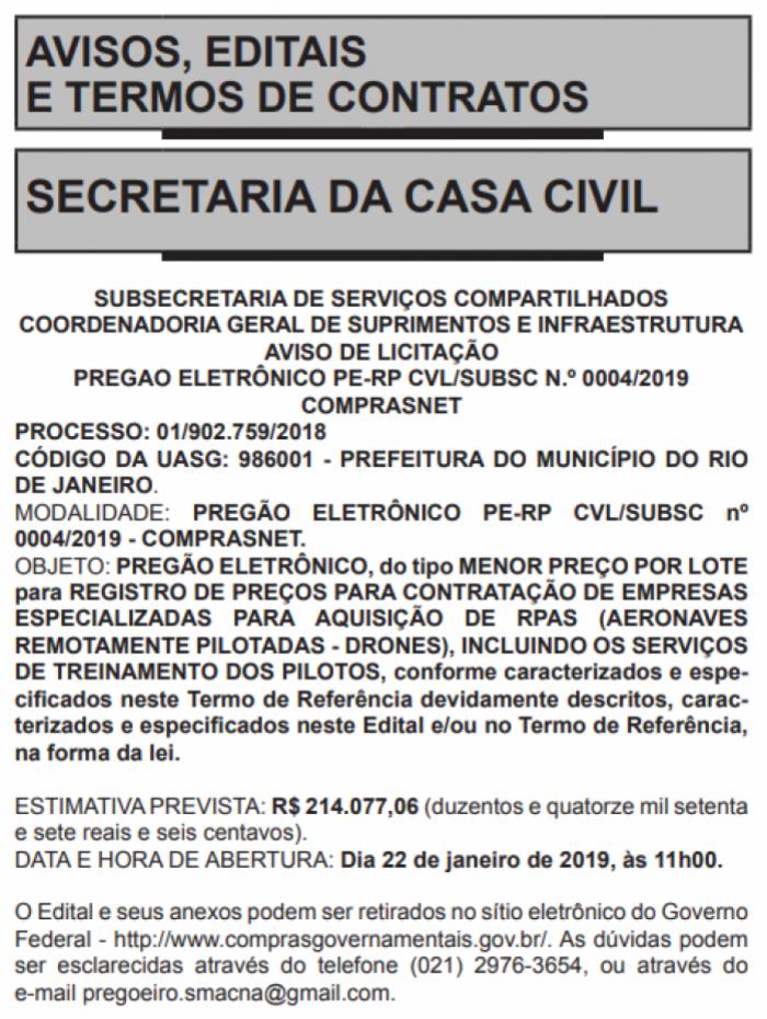 Edital de pregão eletrônico para aquisição de drones pela Prefeitura do Rio