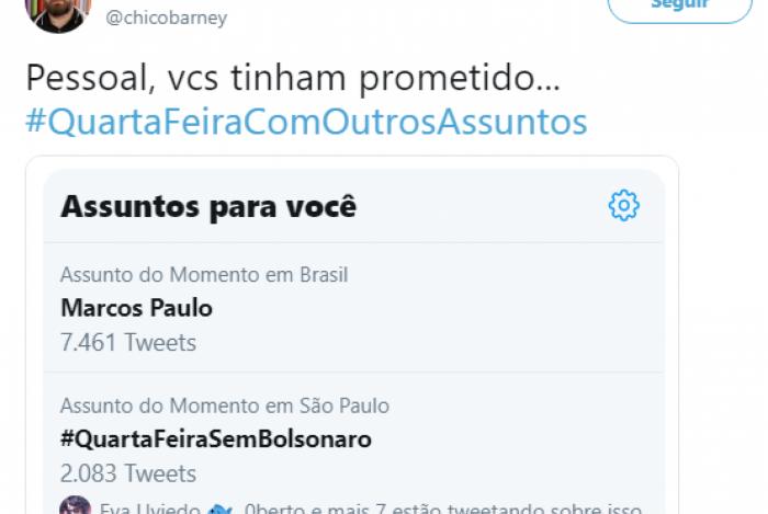 Escritor propõe um dia sem falar sobre Bolsonaro nas redes sociais e hashtag viraliza