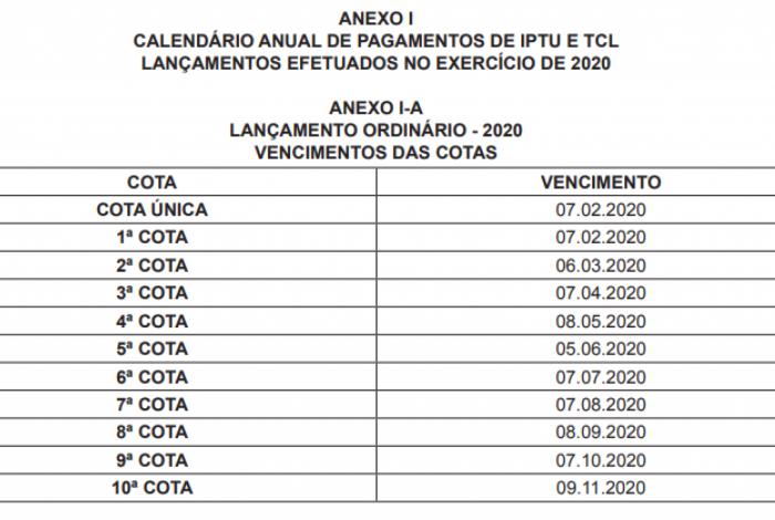 Calendário anual de pagamentos de IPTU e TCL