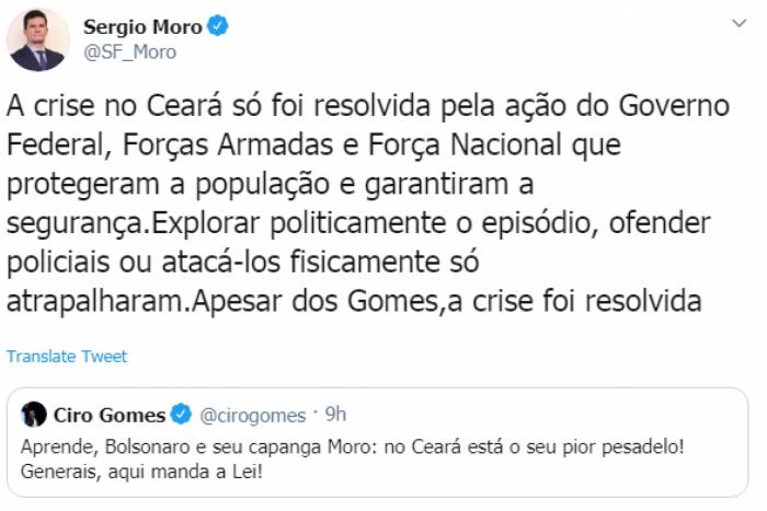 Sérgio Moro responde Ciro Gomes sobre motim de policiais no Ceará