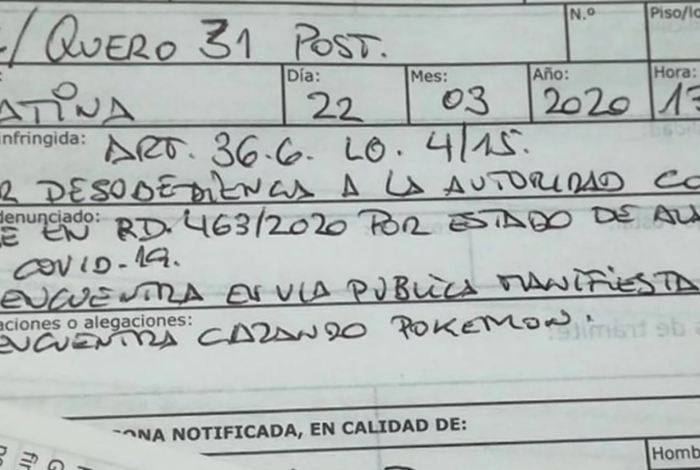 Multa da polícia espanhola a idoso na rua