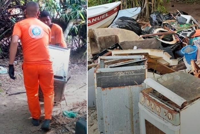 Agentes da prefeitura tiram lixo da praia: teve até fogão velho e enferrujado