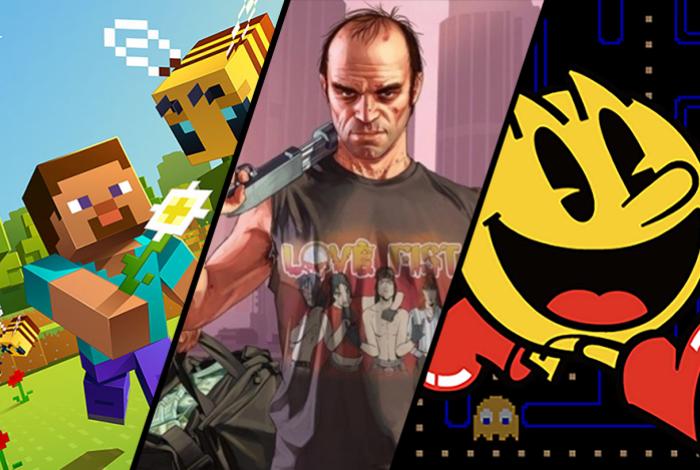 Minecraft, GTA V, e Pac-Man estão no top 10